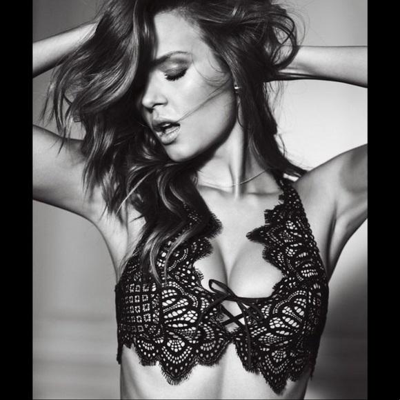 bb22b15ff7 Victoria s Secret lace up bralette Plunge Black
